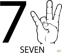 asl number seven free download education number coloring pages