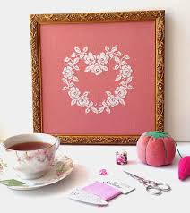 sew french french rose heart cross stitch pattern
