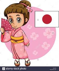 japanese in pink kimono and japan flag illustration stock