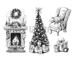 sketch vector illustration interior with christmas tree and