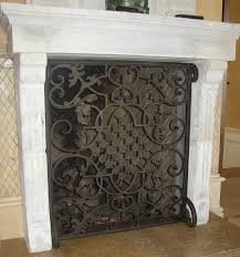 Single Fireplace Screen by Hand Forged Custom Fireplace Screens Noble Forge