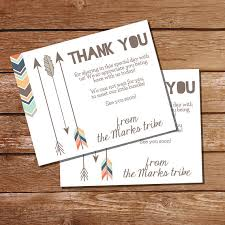 tribal baby shower thank you card insert card tribal baby shower