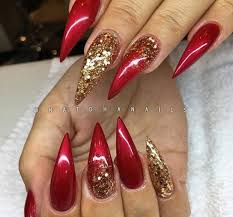 cranberry stiletto nails with gold accents nails pinterest