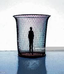 silhouette of man standing in wastepaper basket stock illustration