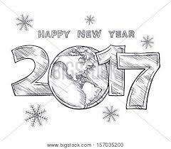 happy new year 2017 sketch globe vector u0026 photo bigstock