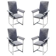 set of four milo baughman chrome dining chairs