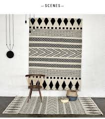 Modern Black And White Rugs 100 Wool Handmade Carpet Geometric Indian Black And White Rug
