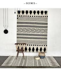Modern Black And White Rug 100 Wool Handmade Carpet Geometric Indian Black And White Rug