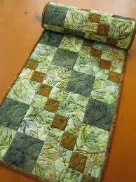 table runner batik quilted table quilt patchwork mountain