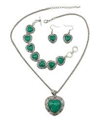 green heart pendant necklace images F e et rit green heart pendant necklace drop earrings zulily jpg