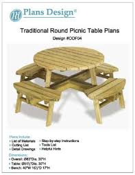 Diy Picnic Table Plans Free by Traditional Round Picnic Table Benches Woodworking Plans Odf04