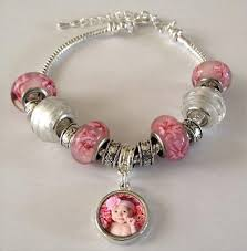 pink beads bracelet images Pink photo beads bracelet w dangling photo beads kit jpg