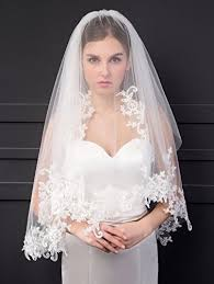 bridal veil elliehouse women s 2 tier lace ivory wedding bridal veil