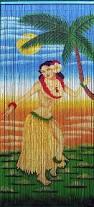 hawaiian bead curtain with hula dancer and moon