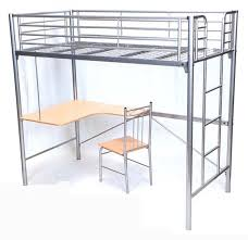 metal bunk bed with desk shaped metal twin loft bed in silver with
