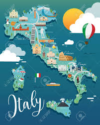 Itsly Map Italy Map With Attractive Landmarks Illustration Vector Lizenzfrei