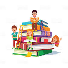 child sitting clipart kids sitting and reading on a huge pile of books stock vector art