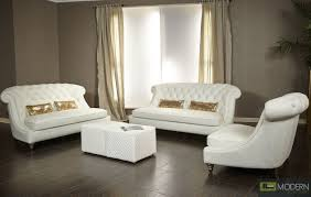 White Tufted Leather Sofa by Tufted Sofa Set Divani Casa Paris Tufted Leather Sofa Set Full