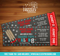 printable chalkboard sledding ticket birthday invitation kids