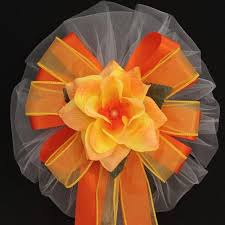 Wedding Pew Bows Orange Yellow Rose Wedding Pew Bows Church Pew Decorations