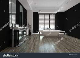 black and white bathroom design large spacious black white bathroom interior stock illustration