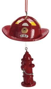 firefighter helmet hydrant tree ornament summer