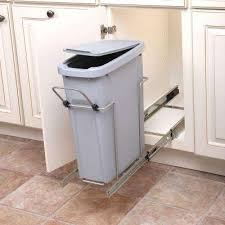 Pull Out Trash Can 15 Inch Cabinet Pull Out Trash Cans Kitchen Cabinet Organizers The Home Depot