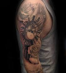 full sleeve mens clock roman numeral tattoo u2026 pinteres u2026
