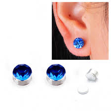 magnetic stud earrings hot sale 6mm women magnet stud earrings men 10 colors fashion cz