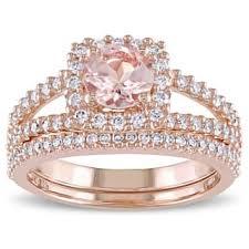 morganite wedding set morganite rings for less overstock