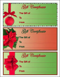 printable christmas gift vouchers gift certificate template