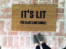 halloween doormat it u0027s lit the black flame candle doormat hocus pocus sanderson