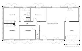 plan maison simple 3 chambres plan maison rectangle 4 chambres