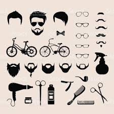 flat style set of male hipster haircut mustache glasses beard