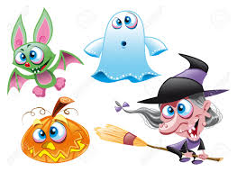 vector characters halloween witch ghost bat pumpkin royalty