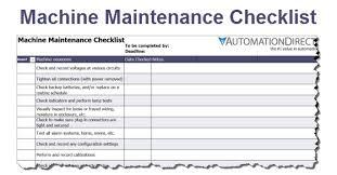 Maintenance Checklist Template Excel Machine Maintenance Checklist Free Template
