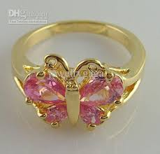 pretty gold rings images Pretty butterfly 3 2ct woman 39 s pink gemstone ring 14kt mark yellow jpg