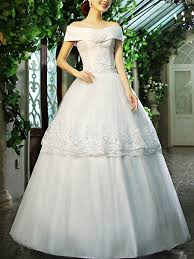 Dress For Wedding Party White Off Shoulder Princess Tiered Embroidery Dress For Wedding On