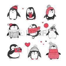 cute hand drawn vector penguins set merry christmas greetings