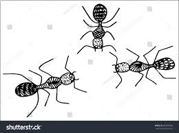 ants isolated on whitehand drawing stock vector 404380669