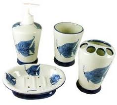 Tropical Bathroom Accessories by Tropical Bathroom Bath Accessory Set C1021 In Bathroom Accessories