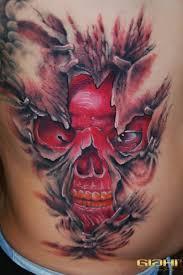 under skin red skull 3d tattoo by szilard best tattoo ideas gallery