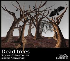 second life marketplace dead trees pack halloween trees haunted