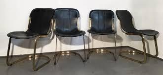 Esszimmerst Le Leder Design Esszimmerstühle Aus Messing U0026 Schwarzem Leder Von Willy Rizzo Für