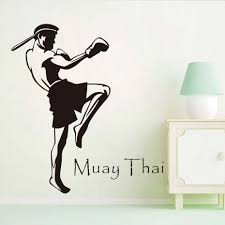 aliexpress com buy muay thai player wall stickers home decor