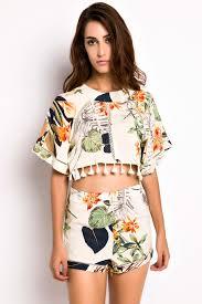 matching set floral print cape crop top shorts matching set high waist