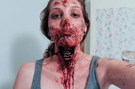 ripped throat zombie makeup so gory face art pinterest