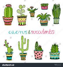 succulent house cactus succulent hand drawn set doodle stock vector 313897790