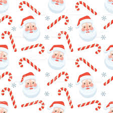 seamless flat christmas pattern cane and santa claus