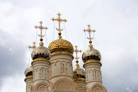 church crosses russian orthodox church with golden crosses stock photo picture